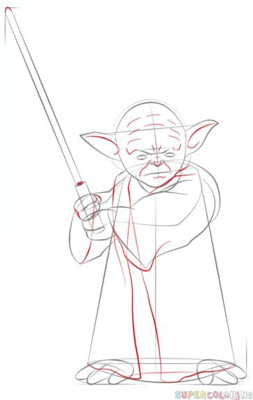 How To Draw Yoda With Lightsaber Step By Step Drawing Tutorials