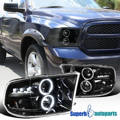 Ad Ebay For 2009 2018 Ram 1500 2500 Led Dual Halo Projector Headlights Polished Black Dodge Ram 1500 Projector Headlights 2018 Ram
