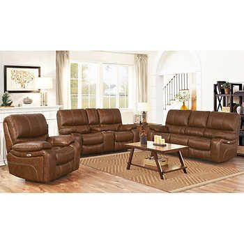 Braymor 3 Piece Top Grain Leather Power Reclining Set In 2020 Power Recliners Top Grain Leather Abbyson Living
