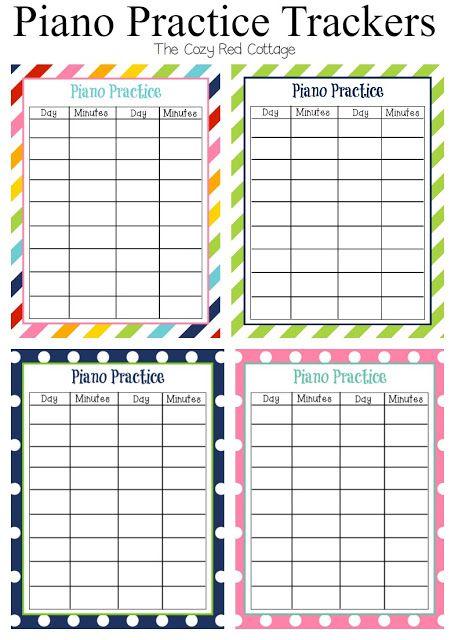 7 Free Piano Practice Tracker Sheets Piano Practice Piano