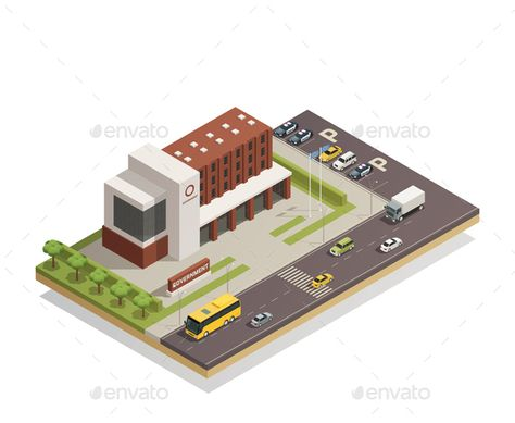 Modern government building compound in city center and surrounding area architectural composition isometric view vector illustrati also rh pinterest