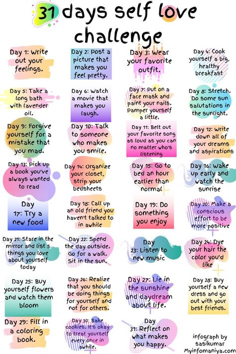 Amazing self care challenges.  Moms need to be filling your own cup before helping others.