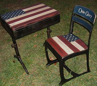 School desk painted with Americana.  So cute !