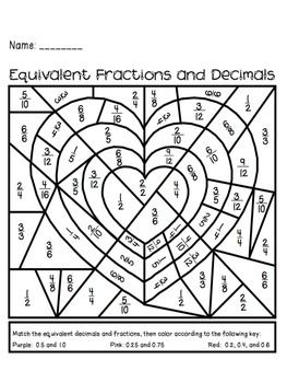 valentines day equivalent fractions activity fraction activities equivalent fractions and activities