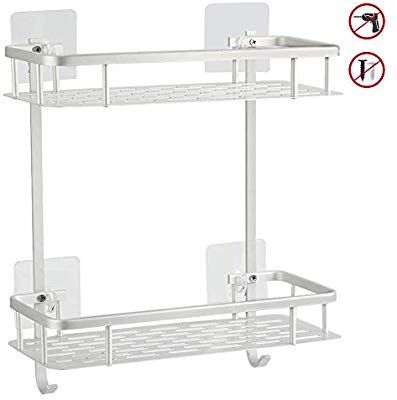 Hawsam No Drilling Bathroom Shelves Aluminum 2 Tier Shower Shelf Caddy Adhesive Storage Basket For Sh Shower Shelves Bathroom Shelves Bathroom Storage Shelves