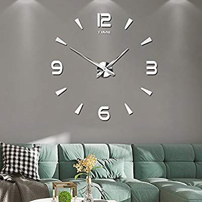 Amazon Com Frameless Large 3d Diy Wall Clock Mute Mirror Stickers Home Office School Decoration 2 Year Warranty 015 Sr Hom Diy Clock Wall Clock Wall Clock