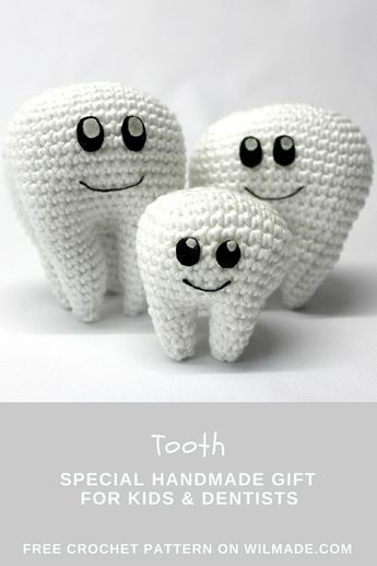 Tooth soft toy Amigurumi keychain Kawaii crochet plush Knit ... | 517x345