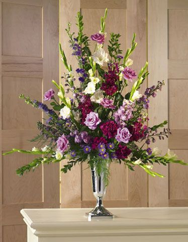Church Wedding Flower Decorations Altar Spray In Silver Goblet White Gladiolus Lavender Roses Aster Italian Ruscus And Burgundy Carnations