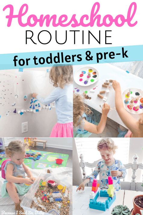 Learn how to structure the day for toddlers and preschoolers for preschool at home. This daily routine provides resources for stay-at-home preschool. Preschool Routine, Preschool Activities At Home, Homeschool Preschool Curriculum, Preschool Learning Activities, Preschool Lessons, Toddler Preschool, Kids Learning, Home Preschool Schedule, Teaching A Toddler