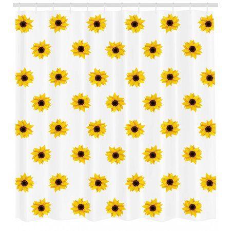 Sunflower Shower Curtain Sunflower Pattern On A White Background