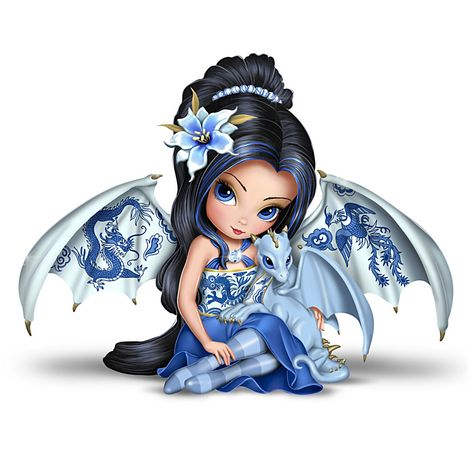 Blue Willow Beauty Figurine Collection A FIRST! Limited-edition handcrafted fairy figurines with dragon companions feature hand-applied Blue Willow-inspired artwork and high-gloss glazes. Dragon Figurines, Fairy Figurines, Fantasy Kunst, Fantasy Art, Blue Willow China, Fairy Drawings, Snow Fairy, Fairy Pictures, Gothic Fairy