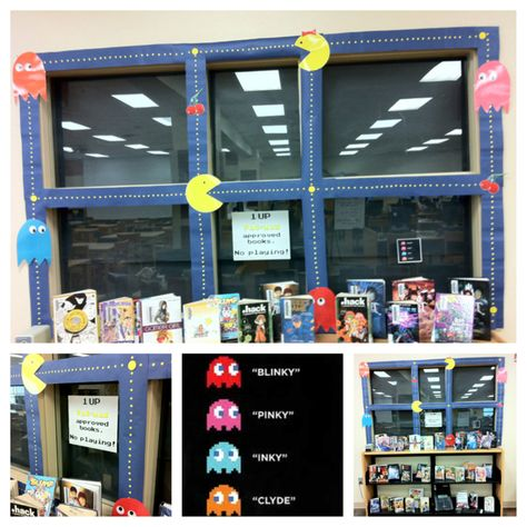 Pac-Man Approved Books: No Playing - book display @ LMS ~inspired by Teen Library via Flickr