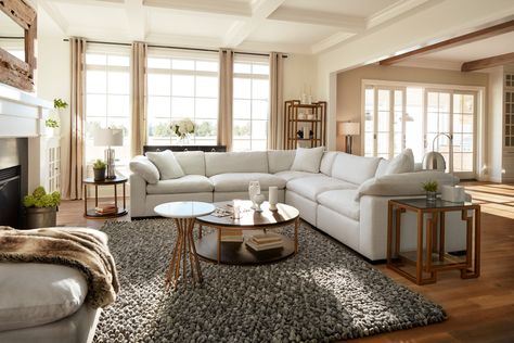 Plush Sectional Sofa and Ottoman - Ivory White Home Living Room, Living Room Furniture, Living Room Designs, Living Room Decor, Living Spaces, Value City Furniture, Living Room Inspiration, House Rooms, Sectional Sofa