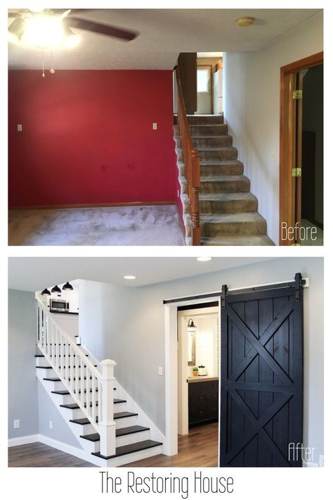 A whole house renovation. A post loaded with before and after pictures. Tons of inspiration. home renovation The Connector House Home Improvement Projects, Home Projects, Home Renovation Loan, House Renovations, Farmhouse Renovation, Small House Renovation, Before After Home, Home Addition Plans, Home Additions