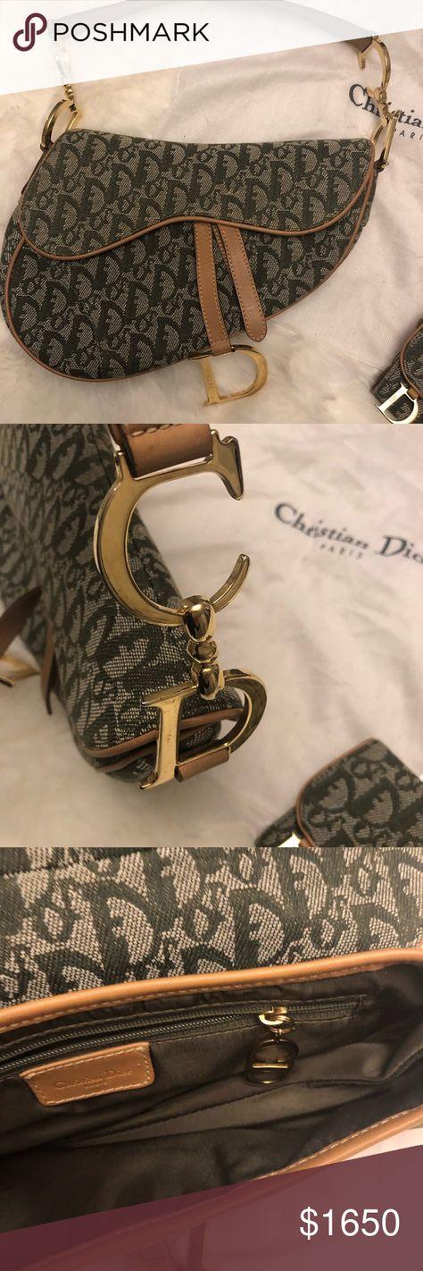 Christian Dior Monogram Saddle Bag Like New Christian Dior Monogram Saddle  Bag Green with Gold Hardware 79150e060e