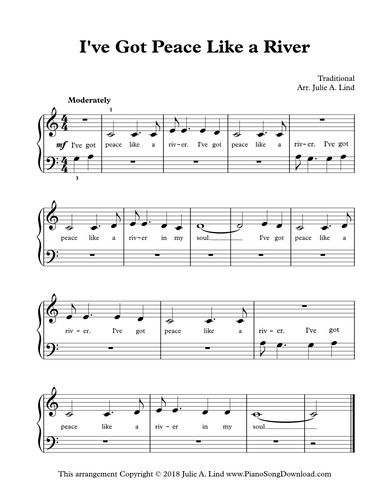 I Ve Got Peace Like A River Easy Christian Hymn Piano Sheet Music