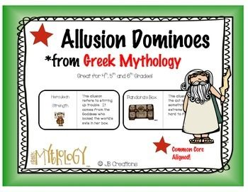 Greek Mythology Game Allusion Dominoes 4th Grade Greek