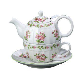 Tea For One Teapot With Cup And Saucer Apple Blossom W