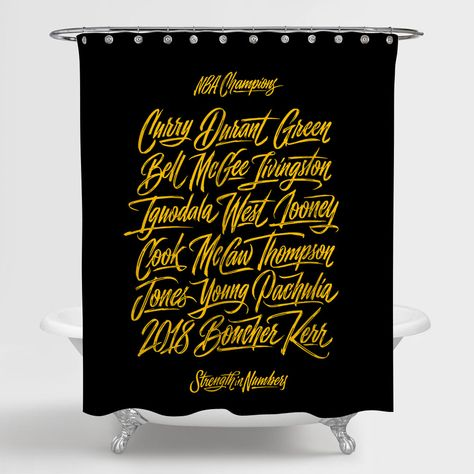 NBA Champion Golden State Warriors Strength In Numbers Shower Curtain 100% Polyester