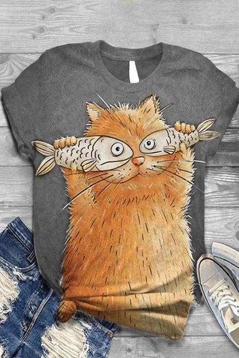 Art Afro, Animal Print Outfits, Animal Print T Shirts, Animal Prints, Shirt Bluse, Fish Print, Crew Neck Shirt, Catfish, Art Plastique