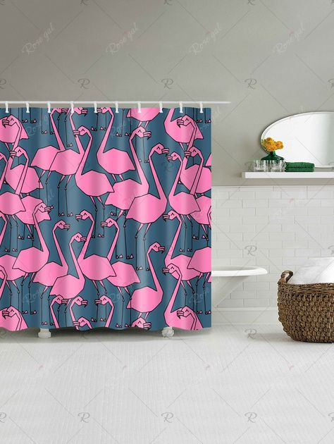 Extra Long Shower Curtain With Flamingo Print With Images