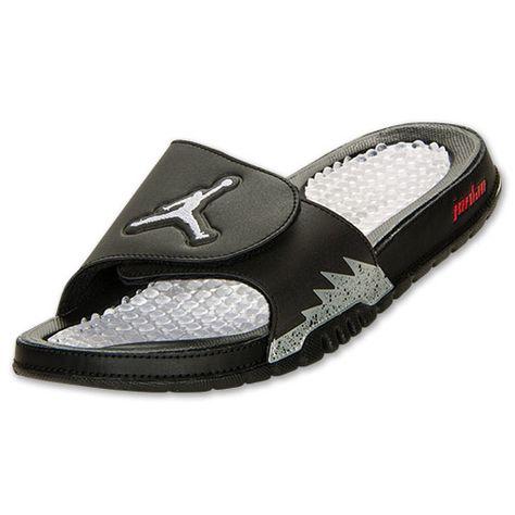 Men's Jordan Hydro V Retro Slide Sandals | FinishLine.com | Black/White/New  Emerald | pretty (: | Pinterest | Slide sandals, Emeralds and Sandals