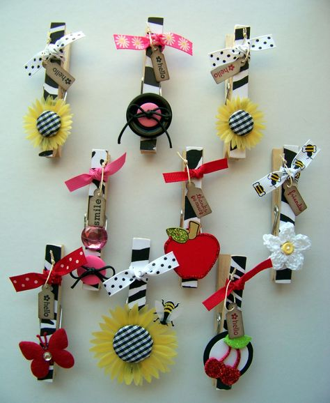 Clothes Pin Magnets - would be cute to have all of the kids deocrate one and then display their work with it.