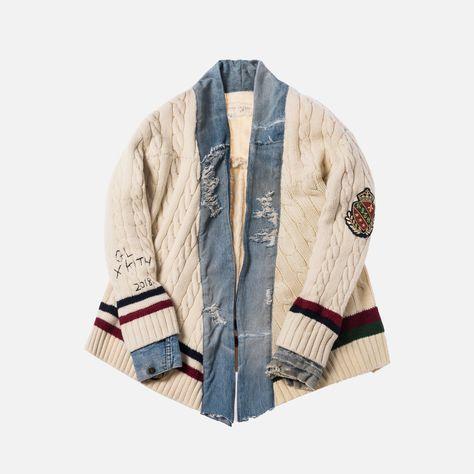 x Greg Lauren Cable Knit Tennis Sweater Kimono Cream XXS