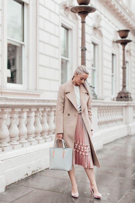 Jumper by Ted Baker | Skirt by Ted Baker | Shoes by Ted Baker | Bag by Ted Baker | Coat by Reiss | Bracelet by Monica Vinader | …