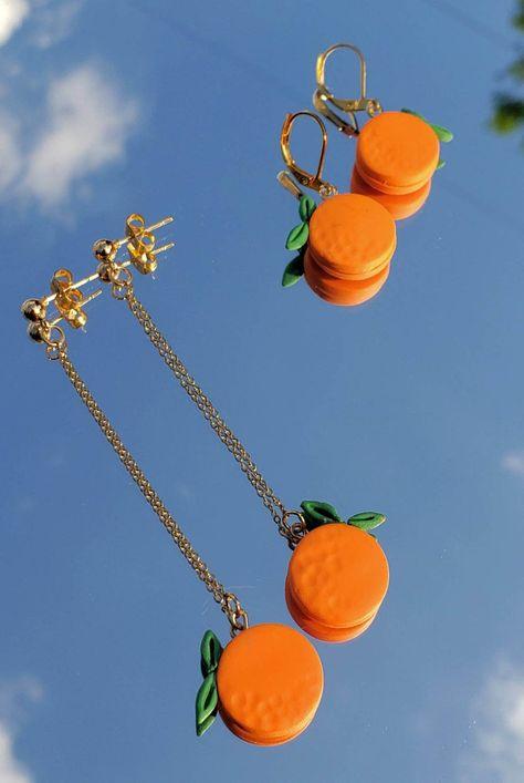 Orange Fruit Clay Earrings