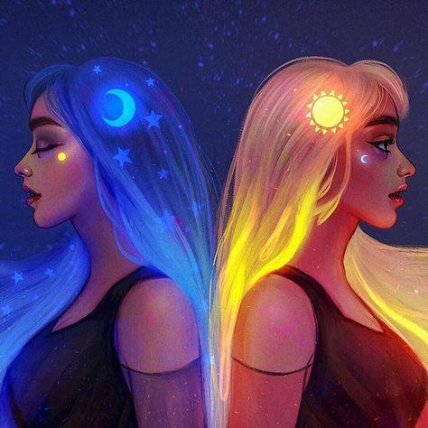🌙☀️Like night and day☀️🌙 yingyangtwins yin yanggang peace tranquility serenity blueaesthetic orangeaesthetic twins twinart psychology psychedelics psychedelia psychedelicart gothart artoftheday pastel pastelgoth pastelart oilpastel digitalart mood