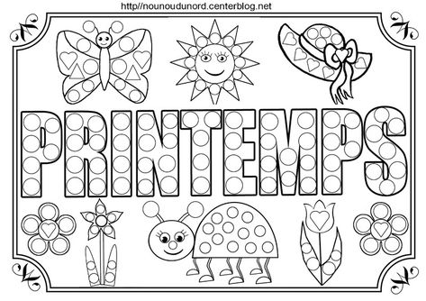 Activites Gomettes Sur Le Theme Du Printemps Coloriage Printemps