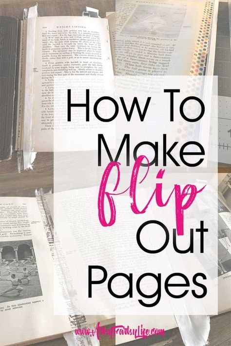 How To Make Flip Out Pages. I LOVE experimenting with making my altered books and one of the thing Junk Journal, Journal Pages, Journal Covers, Notebook Covers, Journal Art, Journal Entries, Handmade Journals, Handmade Books, Handmade Notebook