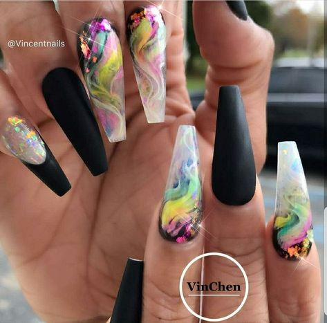 Awesome 39 Stylish Acrylic Coffin Nail Arts Design For Summer. More at https://www.tilependant.com/2018/10/03/39-stylish-acrylic-coffin-nail-arts-design-for-summer/