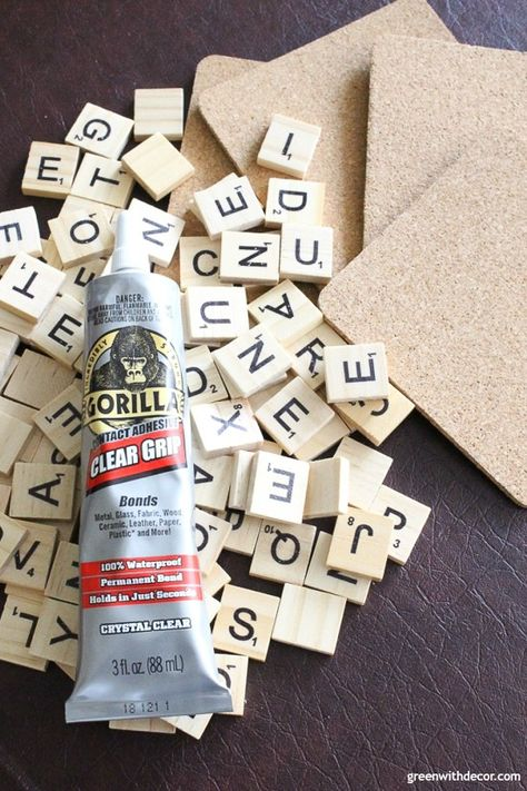How to make scrabble tile DIY coasters - Green WIth Decor