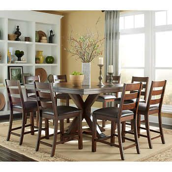 Cline 9 Piece Counter Height Dining Set Pub Table Sets Counter Height Dining Sets Counter Height Dining Table