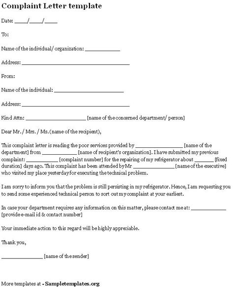 Formal Complaint Letter Template - http\/\/resumesdesign\/formal - civil complaint template