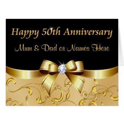 Golden Anniversary Cards For Mum And Dad Your Text Zazzle Com