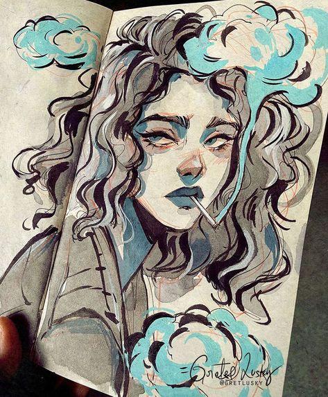 """Gretel Lusky on Instagram: """"Messy sketchbook page inspired in the work of @aykutmaykut ❤️ . . . #sketchbook #sketchbookart #mixedmedia #traditionalart #moleskine…"""""""