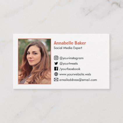 Add Your Photo And Social Media Icons Simple White Business Card Zazzle Com In 2021 Social Media Icons Photo Social Media Media Icon