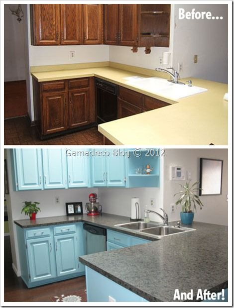 Pintura Para Muebles De Cocina | Antes Y Despues Una Cocina Pintada De Azul Puertas De Madera