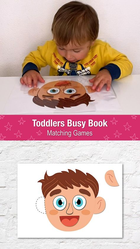 Face Parts Printable Activity Page, Busy Book for Toddlers, Preschool, Quiet Book, Learning Binder