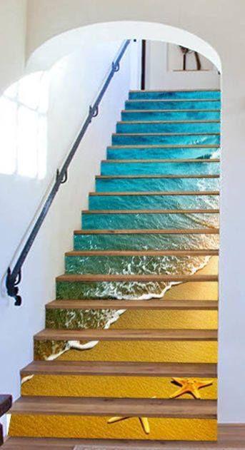 Creative Beach Stair Riser Stickers Beach Stairs Marble Stairs Photo Mural