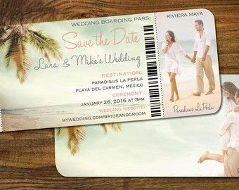 Save The Date Boarding Pass Ticket Vintage Blue Destination Wedding Punta