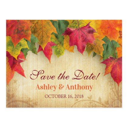 Maple Leaves Wedding Fall Autumn Save