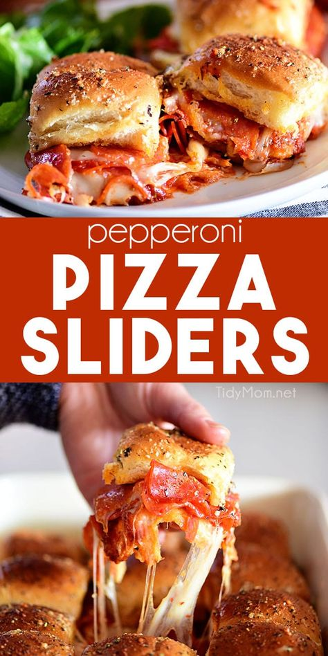 PIZZA SLIDERS are always the hit of the party! Pull-apart dinner rolls are layered with sauce, mozzarella, and pepperoni topped with a buttery garlic Parmesan crust. It's hard to go wrong with this one! Appetizer Recipes, Snack Recipes, Dinner Recipes, Cooking Recipes, Skillet Recipes, Fun Sandwich Recipes, Pizza Recipes, New Recipes, Pizza Appetizers
