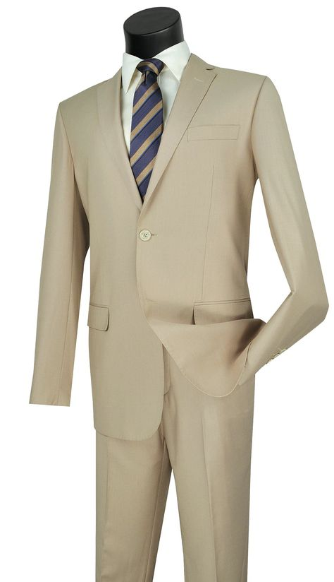 Vinci Suit SC900-12-Light Beige - Light Beige / 36R