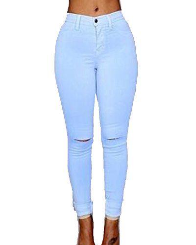 e1f05fca8 Cintura Alta Pantalones Rotos En La Rodilla Jeans Mujer Elástico ...