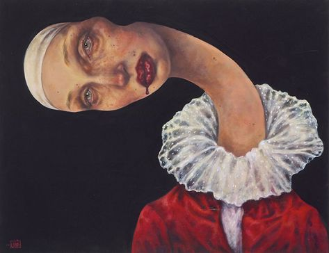 Afarin Sajedi is a creative Iranian artist. I wanted to share her paintings with you and show you an amazing kind of art. Editor's note: Afarin Sajedi is an Iranian artist with a unique style of painting. Art And Illustration, Surealism Art, Psy Art, Iranian Art, A Level Art, Surreal Art, Surreal Portraits, Woman Painting, Painting Art