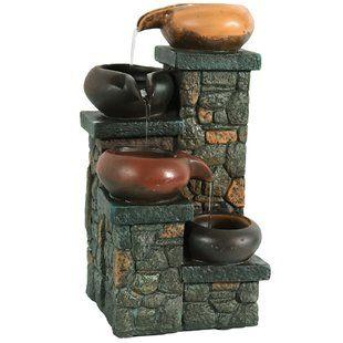 Adagio Fountains Whispering Creek Acrylic Wall Fountain With Light Wayfair Tabletop Fountain Tabletop Water Fountain Brick Steps
